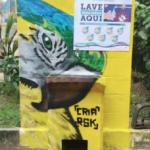 Pias comunitárias são revitalizadas e recebem grafites com temas amazônicos. População pode utilizá-las para se prevenir do coronavírus